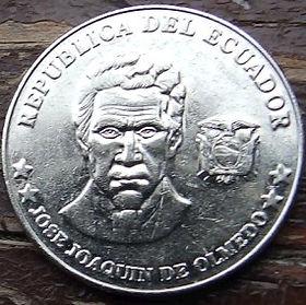 25 Сентаво,2000 года, Эквадор, Монета, Монеты, 25 Veinticinco Centavos2000, Republica del Ecuador,Jose Joaquin de Olmedo,Хосе Хоакин де Ольмедо на монете.