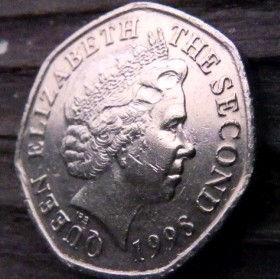 20 Пенсов, 1998 года, Джерси, Монета, Монеты, 20 Twenty Pence 1998, Jersey,Lighthouse,Маяк на монете,Королева Elizabeth II, Елизавета IIна монете, Четвертый портрет королевы, Семиугольная монета.
