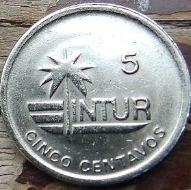 5 Сентаво, 1989 года, Куба, Монета, Монеты, 5 Cinco Centavos 1989, Republica De Cuba,Palm,Пальмана монете, Мушля,Shell, Ракушка на монете.