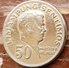 50 Сентимов, 1972 года, Филиппины,Монета, Монеты, 50 Sentimos 1972,Republika ng Pilipinas, Marcelo H. del Pilar,Марсело Дель Пиларна монете,Coat of arms of the Philippines, Герб Филиппинна монете.