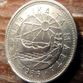 5 Центов, 1986 года, Мальта, Монета, Монеты, 5 Cents 1986, Malta,Fauna, Фауна, Crab,Краб на монете,Sea, Море,Човен,Boat,Лодка, Sun,Cолнцена монете.
