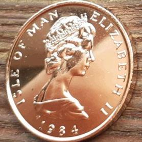2 Пенса, 1984 года, Остров Мэн, Монета, Монеты, 2 Two Pence 1984, Isle of Man, Fauna, Фауна, Пташка, Bird, Птица, Peregrine falcon, Сокол Сапсан на монете, Королева Elizabeth II, Елизавета II на монете, Второй портрет королевы.