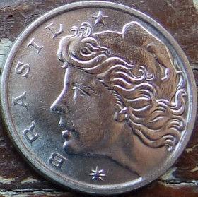 5 Сентаво,1976 года, Бразилия, Монета, Монеты, 5 Centavos 1976, Brasil,FAO, ФАО,Fauna, Zebu Cow,Фауна, КороваЗебу на монете, Дівчина,Girl,Девушка на монете.