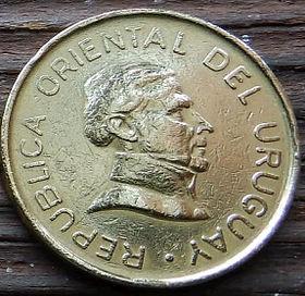 2 Песо,1994года, Уругвай, Монета, Монеты, 2 Dos Pesos 1994, Republica Oriental Del Uruguay,Jose Gervasio Artigas, Хосе Хервасио Артигасна монете.