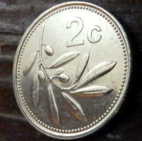2 Цента, 1995 года, Мальта, Монета, Монеты, 2 Cents 1995, Malta,Флора, Flora, Гілка оливкового дерева,Olive,Ветвьоливкового дерева на монете,Coat of arms,Гербна монете.
