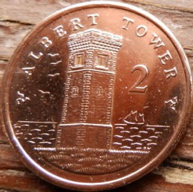 2 Пенса, 2008 года, Остров Мэн, Монета, Монеты, 2 TwoPence 2008, Isle of Man,Вежа, Tower,Башняна монете,Королева Elizabeth II, Елизавета IIна монете, Четвертый портрет королевы.