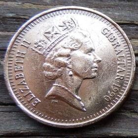 1 Пенни, 1990 года, Гибралтар, Монета, Монеты, 1 One Penny 1990, Gibraltar,Fauna, Фауна,Пташка, Bird,Птица,Куріпка,Partridge, Куропаткана монете,Королева Elizabeth II, Елизавета IIна монете, Третийпортрет королевы.