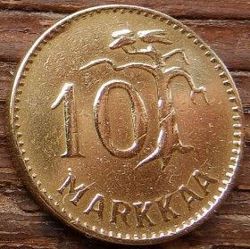 10 Марок, 1953 года, Финляндия, Монета, Монеты, 10 Markkaa 1953,Suomen Tasavalta, Suomi, Finland,Tree, Дерево на монете,Coat of Arms,Герб,Fauna, Фауна, Lion with sword, Лев с мечом на монете.