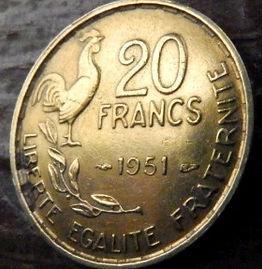 20 Франков, 1951года, Франция,Монета, Монеты, 20 Francs1951,RepubliqueFrancaise, France,Гілка оливкового дерева, Olive, Ветвь оливковогодерева,Півень,Cock,Петух на монете,Girl,Девушкана монете.