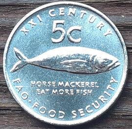 5 Центов, 2000 года, Намибия, Монета, Монеты, 5 Cents 2000, Republic of Namibia, ФАО, FAO,Фауна, Риба, Fauna, Fish,Фауна, Рыбана монете, Coat of arms of Namibia, Герб Намибии на монете.