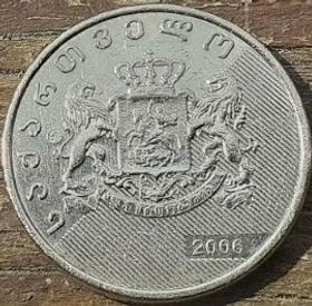 1 Лари, 2006 года,Грузия, Монета, Монеты, 1 Lary 2006, Republicof Georgia,Ornament, Орнаментна монете,Coat of arms of Georgia,Герб Грузии на монете.