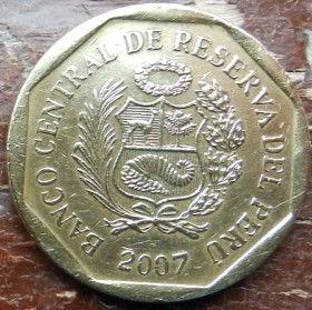 20 Сентимов,2007 года, Перу, Монета, Монеты, 20 Centimos 2007, Peru, Народний орнамент,Folk ornament,Народный орнаментна монете, Coatof arms of Peru,Герб Перу на монете.