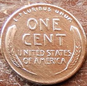 1 Цент, 1926 года,Соединенные Штаты Америки, Монета, Монеты, 1 One Cent 1926,The United States of America,Flora, Spikelets, Флора, Колоскина монете, President Abraham Lincoln, Президент Авраам Линкольнна монете.