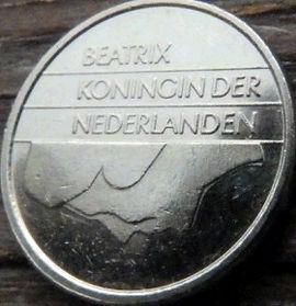 25 Центов, 1990 года, Нидерланды, Монета, Монеты, 25 Сents1990, NEDERLAND,Королева Беатрікс на монете.