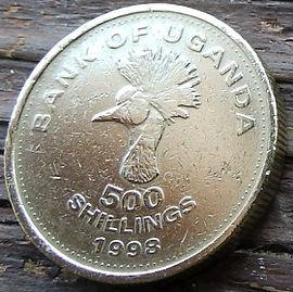 500 Шиллингов, 1998 года, Уганда,Монета, Монеты, 500 Five hundred Shillings 1998, Uganda,Fauna, Head of the Crane-crown,Фауна, Голова венценосного журавляна монете, Coat of arms of Uganda,Герб Угандына монете.