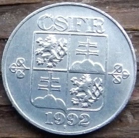 10 Геллеров, 1992 года,Чехословакия,Монета, Монеты,10 Hellers1992, CSFR,Coat of Arms, Гербна монете.