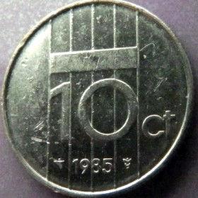 10 Центов, 1985 года, Нидерланды, Монета, Монеты, 10 Сents1985, NEDERLAND,Королева Беатрікс на монете.