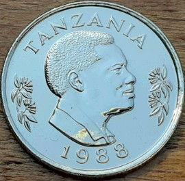 50 Сенти, 1988 года, Танзания,Монета, Монеты, 50 Senti1988, Tanzania,Fauna, Rabbit,Фауна, Кролик, Заяц на монете, Ali Hassan Mwinyi,Али Хассан Мвиньи на монете.