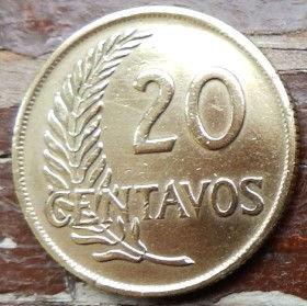 20 Сентаво,1956 года, Перу, Монета, Монеты, 20 Centavos 1956, Republica Peruana,Гілка дерева,Tree branch,Ветка деревана монете, Перуанська жінка, Peruvian woman,Перуанская женщина на монете.