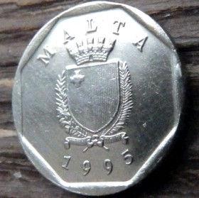 5 Центов, 1995 года, Мальта, Монета, Монеты, 5 Cents 1995, Malta,Fauna, Фауна, Crab,Краб на монете,Coat of arms,Гербна монете.