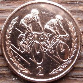 2 Пенса, 1998 года, Остров Мэн, Монета, Монеты, 2 TwoPence 1998, Isle of Man,Рослинний орнамент,растительный орнамент,floral ornament, Cyclists,Велосипедистына монете,Королева Elizabeth II, Елизавета IIна монете, Четвертый портрет королевы.