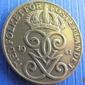 2 Эре, 1941 года, Швеция, Монета, Монеты, 2 Ore 1941, Sverige, Sweden,Crown,Корона,Monogram, ВензельКороляГустава V на монете.