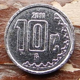 10 Сентаво, 2011 года,Мексика, Монета, Монеты, 10 Centavos 2011,Estados Unidos Mexicanos, Coat of arms of Mexico, Герб Мексикина монете.