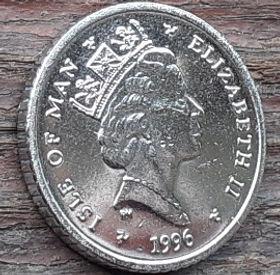 5 Пенсов, 1996 года, Остров Мэн, Монета, Монеты, 5 Pence 1996, Isle of Man, Sports, Golf,Спорт, Гольф на монете, Королева Elizabeth II, Елизавета II на монете, Третий портрет королевы.