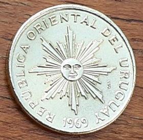 1 Песо,1969 года, Уругвай, Монета, Монеты, 1 Peso1969, Republica Oriental Del Uruguay,Флора,Квітка, Flora, Flower,Флора,Цветокнамонете, Сонце,Sun,Солнцена монете.