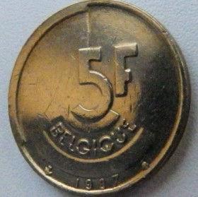 5 Франков, 1986 года, Королевство Бельгия, Монета, Монеты, 5 Franks1987, Belgium, Belgique, Belgie,КорольБодуенIна монете.