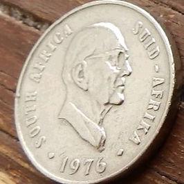 10 Центов, 1976 года, ЮАР,Монета, Монеты, 10 Cents1976,South Africa,Suid-Afrika, Flora, Aloe, Флора, Алоэ на монете, Jacobus Johannes Fouche,Якобус Йоханнес Фушена монете.