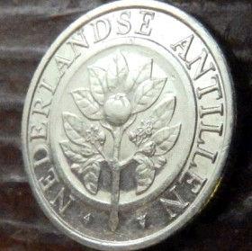25 Центов, 1991 года, Нидерландские Антильские острова, Монета, Монеты, 25 Сents 1991, Nederlandse Antillen,Орнамент, Мушлі, Ornament, Shells,Орнамент, Ракушкина монете,Рослина, Plant,Растениена монете.