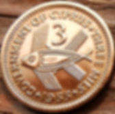 3 Милс, 1955 года, Кипр, Монета, Монеты, 3 ThreeMils 1955, Cyprus, Fauna, Фауна,Fish, Рыбана монете,Королева Elizabeth II, Елизавета IIна монете.