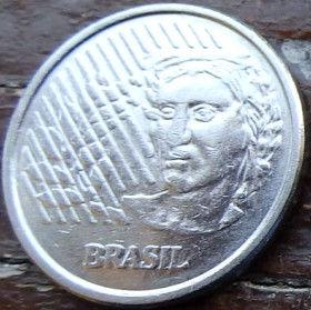 10 Сентаво,1997 года, Бразилия, Монета, Монеты, 10 Centavos 1997, Brasil,Обличчя людини,Human face,Лицо человека на монете.