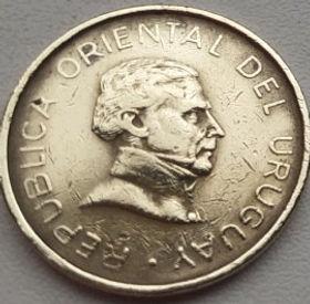 1 Песо,1994года, Уругвай, Монета, Монеты, 1 Un Peso 1994, Republica Oriental Del Uruguay,Jose Gervasio Artigas, Хосе Хервасио Артигасна монете.