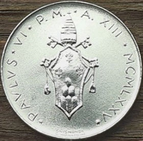 10 Лир, 1975 года, Ватикан, Монета, Монеты, L.10, 10 Lire 1975, Vaticano, Фауна, Риба, Fauna, Fish,Фауна, Рыба на монете, Pavlvs VI,Ключи, Keys на монете.