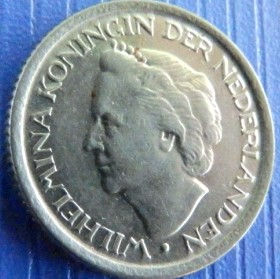 25 Центов, 1948года, Нидерланды, Монета, Монеты, 25 Сents1948, NEDERLAND, Crown, Корона на монете, Королева Вильгельмина на монете.