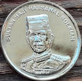 5 Сенов, 1994 года, Бруней, Монета, Монеты, 5 Sen 1994, Brunei Darussalam,National ornament,Национальный орнамент на монете, SultanHassanal Bolkiah,Султан Хассанал Болкиахна монете.