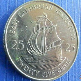 25 Центов, 2002 года, Восточно-Карибские штаты, Монета, Монеты, 25 Twenty-Five Cents2002, East Caribbean States, Корабель, Вітрильник,Ship, Sailboat,Корабль, Парусник на монете,Королева Elizabeth II, Елизавета IIна монете, Четвертый портрет королевы.