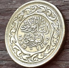 10 Миллимов, 1960 года, Тунис,Монета, Монеты, 10 Millims 1960,Tunisia,Ornament,Орнаментна монете.
