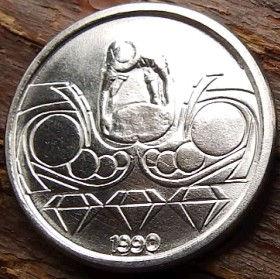 10 Сентаво,1990 года, Бразилия, Монета, Монеты, 10 Centavos 1990, Brasil,Професії,Professions,Профессии,Diamond Prospector, Старатель добывающий алмазына монете.