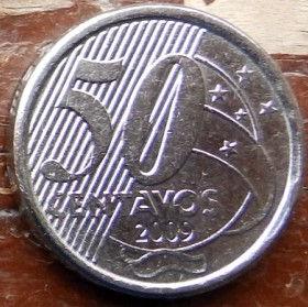 50 Сентаво,2009 года, Бразилия, Монета, Монеты, 50 Centavos 2009, Brasil,The Baron of Rio Branco, Барон Рио-Бранкона монете.