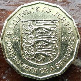 1/4 Шиллинга, 1966 года, Джерси, Монета, Монеты, One Fourth of a Shilling 1966, Jersey,Coat of Arms,Герб,Fauna, Фауна,Lions, Львы на монете,Королева Elizabeth II, Елизавета IIна монете, Второй портрет королевы, 12 - угольная монета.