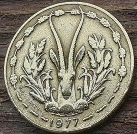 10 Франков, 1977 года, BCEAO,Монета, Монеты, 10 Francs 1977, UNION MONETAIRE OUEST-AFRICAINE,Taku Symbol,Символ Таку на монете, Fauna, Antelope,Фауна, Антилопана монете.