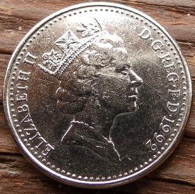 10 Пенсов, 1992 года,Великобритания, Монета, Монеты, 10 Ten Pence 1992, Корона, Crown,Fauna,Фауна, Lion, Лев на монете, Королева Elizabeth II, Елизавета IIна монете, Третийпортрет королевы.