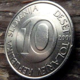 10 Толаров, 2001 года,Словения,Монета, Монеты,10 Deset Tolarjev 2001, Republika Slovenija,Fauna, Фауна, Horse, Коньна монете.