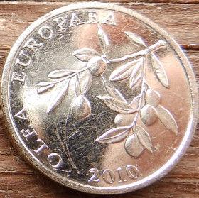 20 Лип, 2010года,Хорватия,Монета, Монеты,20 Lipa2010, Republika Hrvatska, Coat of Arms,Герб,Flora, Флора,Linden leaves, Листья липына монете, Olea europaea,Гілка оливкового дерева,Olive,Ветвьоливкового деревана монете.