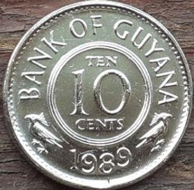 10 Центов,1989 года, Гайана, Монета, Монеты, 10 Ten Cents 1989, Guyana,Флора, Пташка,Flora, Bird,Флора, Птичкана монете,Coat of arms of Guyana,Герб Гайанына монете.