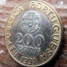 200 Эскудо, 1991 года, Португалия, Монета, Монеты, 200 Escudos 1991, Republica Portuguesa,Portugal,Coat of Arms, Герб на монете,Garcia de Orta,Гарсия де Орта на монете.