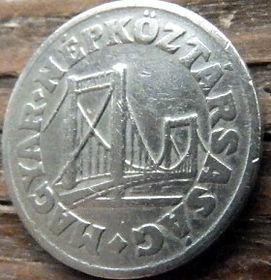 50 Филлеров, 1969 года,Венгрия, Монета, Монеты,50 Filler 1969,Hungary, Угорщина, Magyar, Laurel leaves,Листья лавра на монете,Міст Єлизавети в Будапешті,Elizabeth Bridge in Budapest, Мост Елизаветы в Будапештена монете.